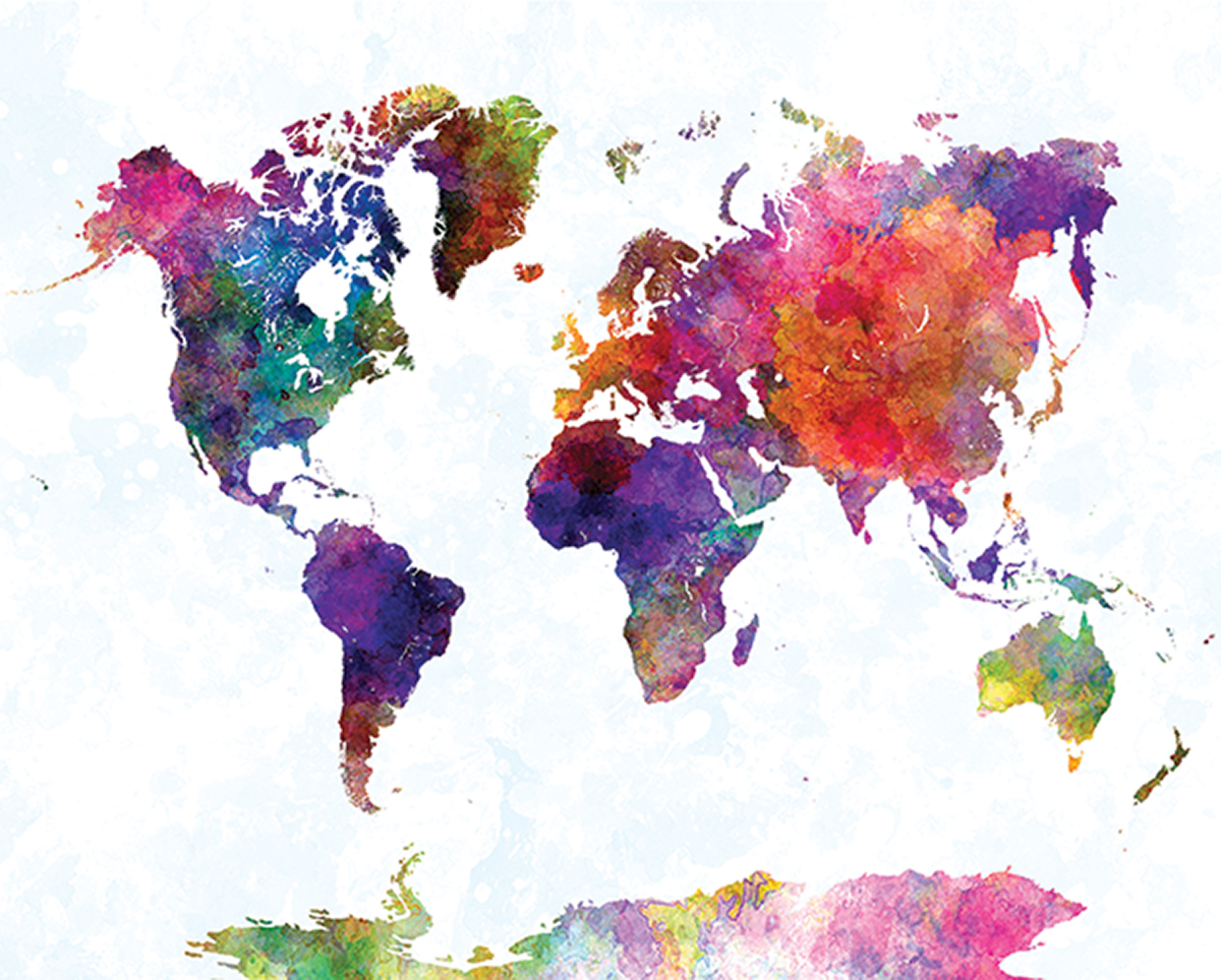 World Map In Watercolorpurple And Blue Western USC - 16x20 world map